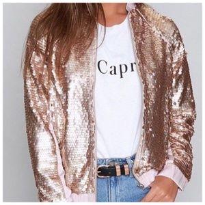 Jackets & Blazers - Sexy Gold Sequin Bomber Jacket NWT Sz Large ⓈⒶⓁⒺ